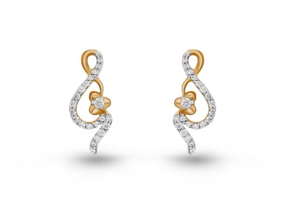 18K Yellow Gold Colour Clarity Floral Gleam Diamond Earring 0.464Ct SG04685E