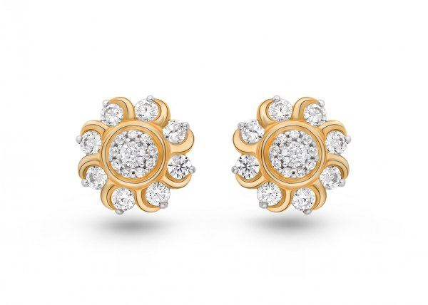 18K Yellow Gold color clarity Floral earring 1.270 SG11946E