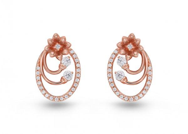 18K Rose Gold Colour Clarity Dazzling Lotus Diamond Earring 0.540Ct SG13413E