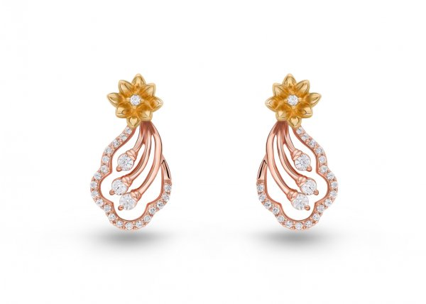 18K Rose and Yellow Gold Colour Clarity Floral Beam Diamond Earring 0.530Ct SG13688E