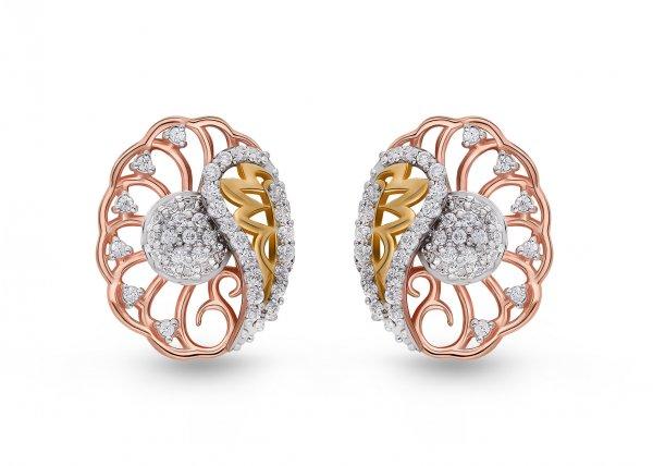 18K Rose Gold Colour Clarity Belle Mesh Diamond Earring 0.660Ct SG13760E