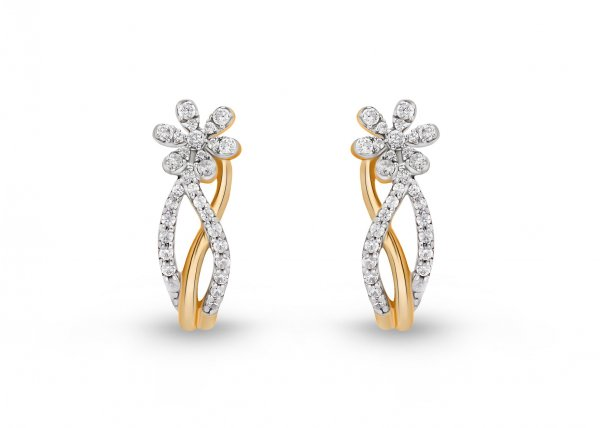18K Yellow Gold Colour Clarity Floral Twiglet Diamond Earring 0.790Ct SG15667E