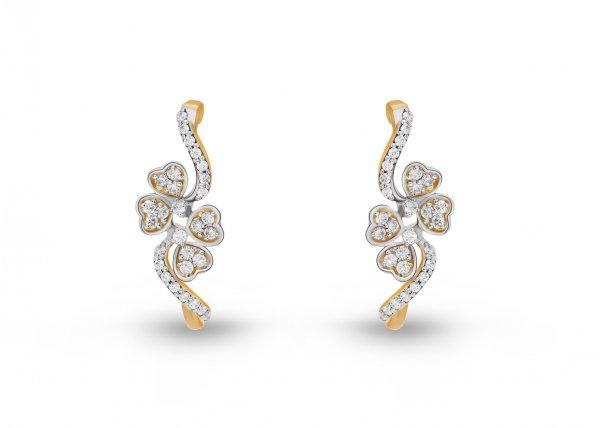 18K Yellow Gold Colour Clarity Sprig Tiara Diamond Earring 0.470Ct SG15674E