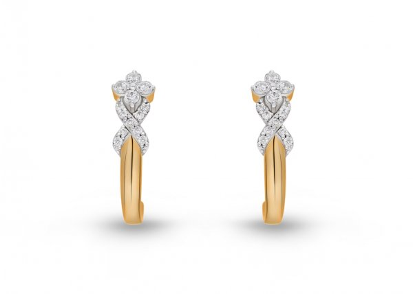 18K Yellow Gold Colour Clarity Floret Braid Diamond Earring 0.520Ct SG15675E