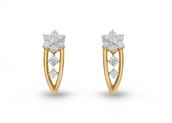 18K Yellow Gold Colour Clarity Flowerlet Sprig Diamond Earring 0.650Ct SG15677E