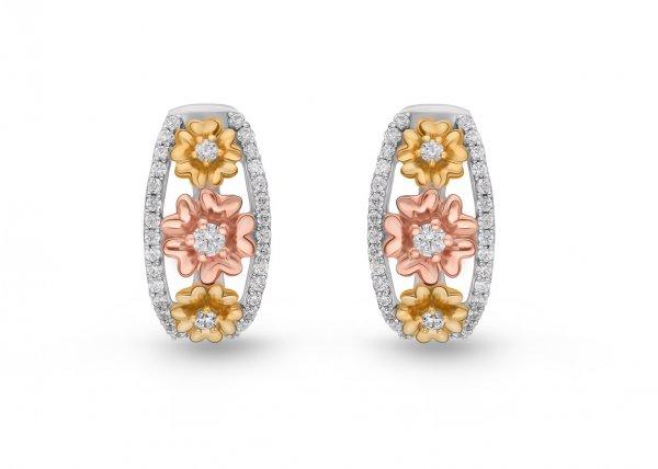 18K White Gold Colour Clarity Floweret Ring Diamond Earring 0.800Ct SG15684E