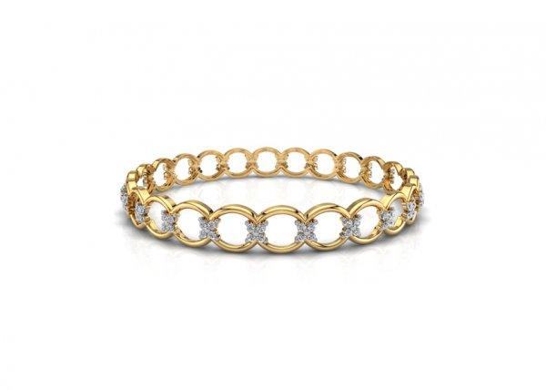 18K Yellow Gold IF-FG Diamond Bangle 1.44 ct-SDBA1059