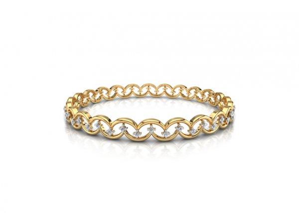 18K Yellow Gold IF-FG Diamond Bangle 0.528 ct