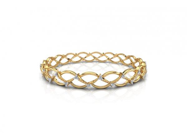 18K Yellow Gold IF-FG Diamond Bangle 0.72 ct