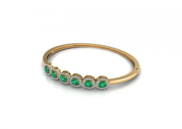 18K Yellow Gold IF-FG Diamond Bracelet 0.456 ct-SDBT1123