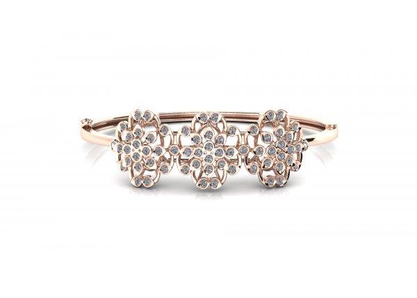 18K Rose Gold IF-HI Diamond Bracelet 1.188 ct-SDBT1276