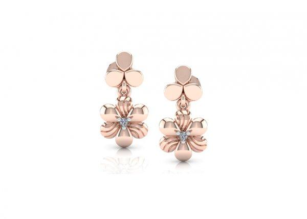 18K Rose Gold IF-FG Diamond Earring 0.02 ct-SDER1360