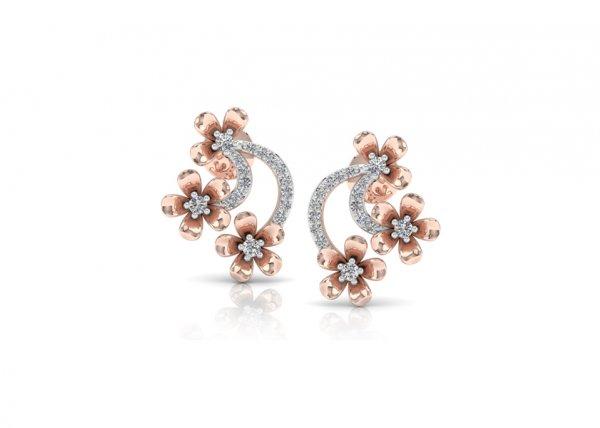 18K Rose Gold IF-FG Diamond Earring 0.21 ct-SDER1862