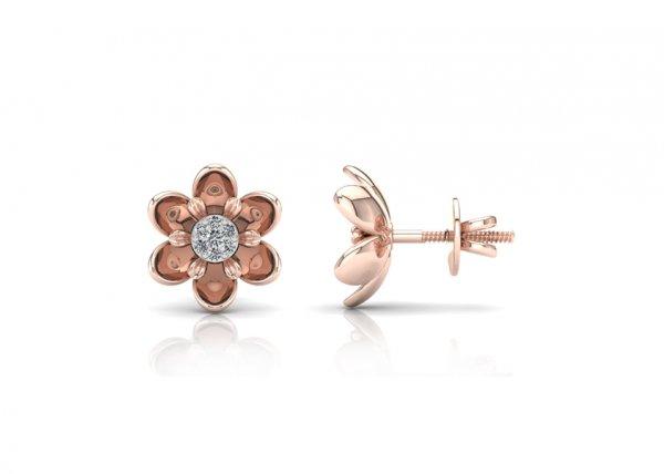 18K Rose Gold IF-FG Diamond Earring 0.158 ct-SDER1864