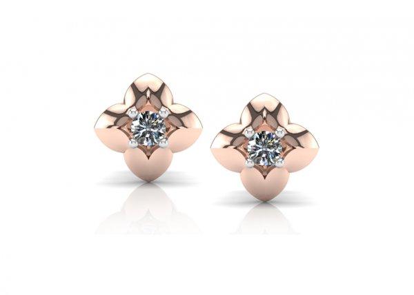 18K Rose Gold IF-FG Diamond Earring 0.12 ct-SDER1866