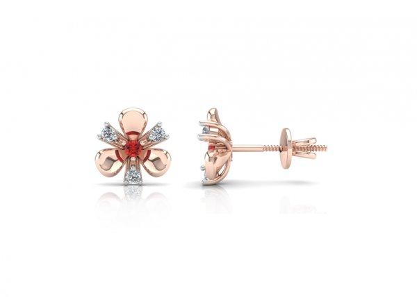 18K Rose Gold IF-FG Diamond Earring 0.15 ct-SDER1867
