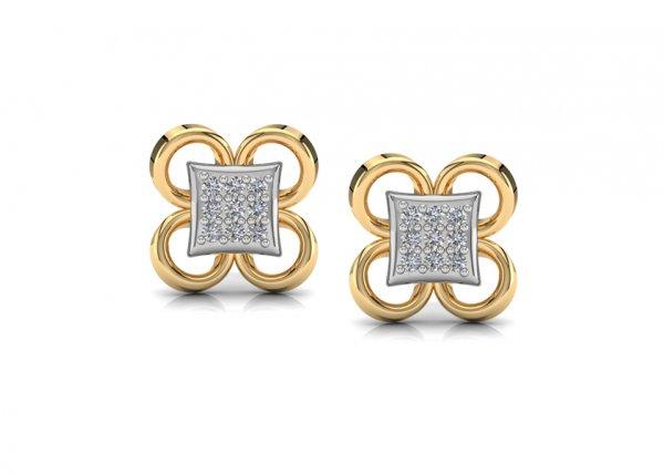 18K Yellow Gold IF-FG Diamond Earring 0.126 ct