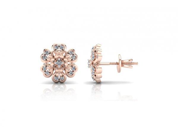 18K Rose Gold IF-FG Diamond Earring 0.15 ct-SDER1993