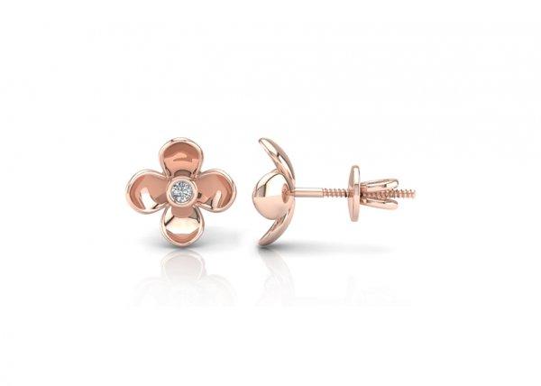 18K Rose Gold IF-FG Diamond Earring 0.07 ct