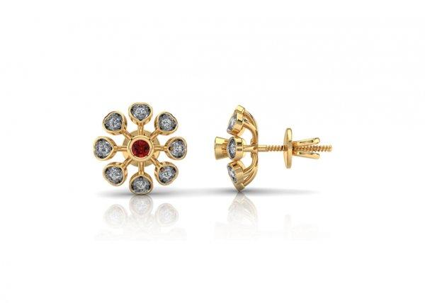 18K Yellow Gold IF-FG Diamond Earring 0.144 ct