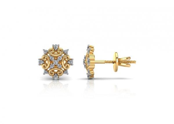 18K Yellow Gold IF-FG Diamond Earring 0.15 ct-SDER2227
