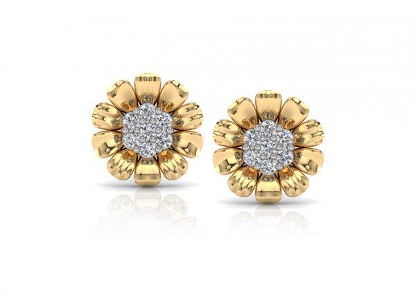 18K Yellow Gold IF-FG Diamond Earring 0.154 ct-SDER2228