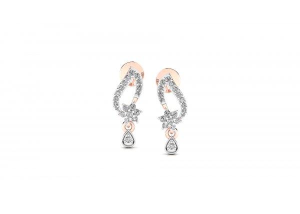 18K Rose Gold IF-HI Diamond Earring 0.328 ct-SDER2477