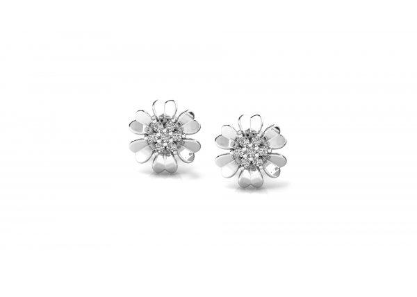 18K White Gold IF-HI Diamond Earring 0.14 ct-SDER2485