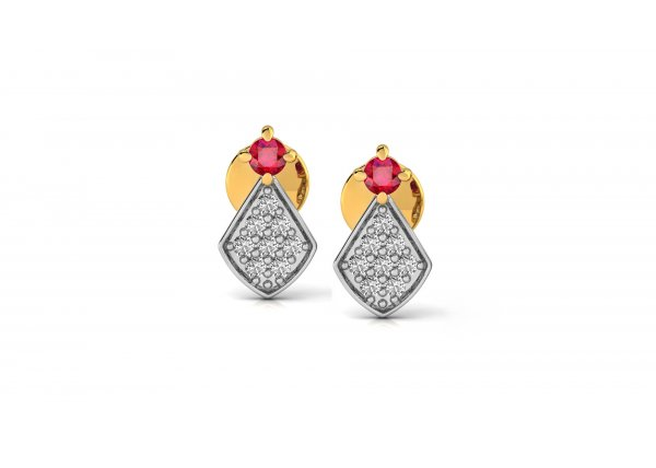 18K Yellow Gold IF-HI Diamond Earring 0.176 ct-SDER2775