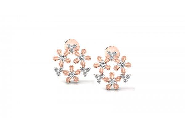18K Rose Gold IF-HI Diamond Earring 0.3 ct-SDER3186