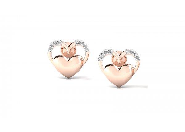 18K Rose Gold IF-HI Diamond Earring 0.108 ct-SDER3203