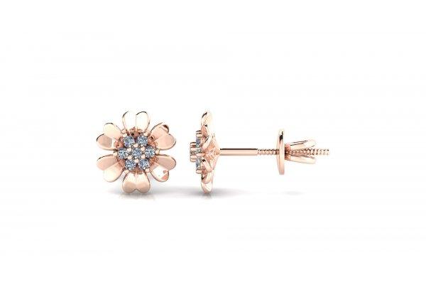 18K Rose Gold IF-HI Diamond Earring 0.14 ct-SDER3209