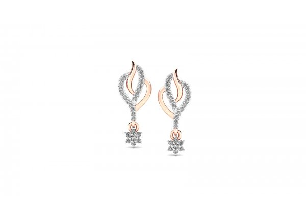 18K Rose Gold IF-HI Diamond Earring 0.394 ct-SDER3214