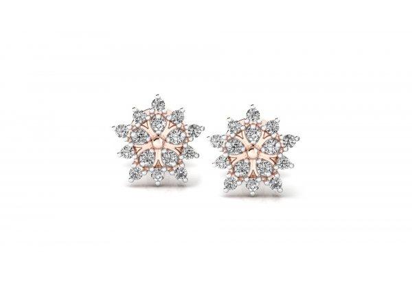 18K Rose Gold IF-HI Diamond Earring 0.23 ct-SDER3240