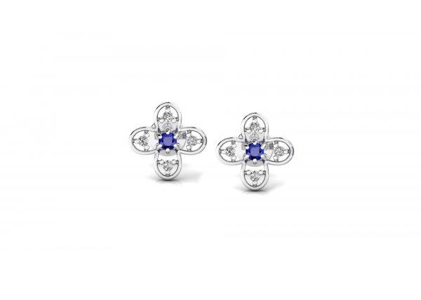 18K White Gold IF-HI Diamond Earring 0.088 ct-SDER3246