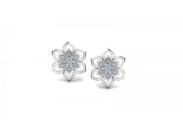 18K White Gold IF-HI Diamond Earring 0.182 ct-SDER3252