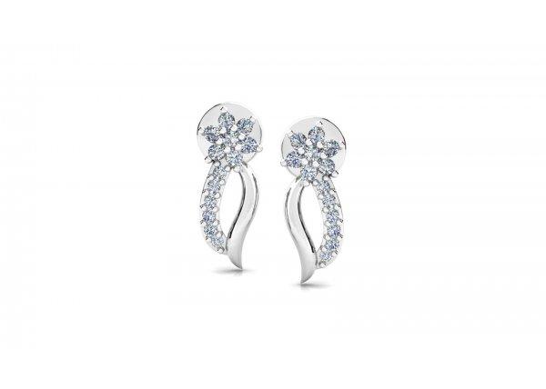 18K White Gold IF-HI Diamond Earring 0.21 ct-SDER3264