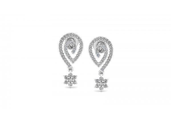 18K White Gold IF-HI Diamond Earring 0.458 ct-SDER3332