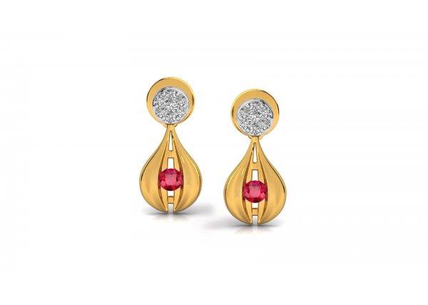 18K Yellow Gold IF-HI Diamond Earring 0.114 ct-SDER3338