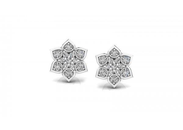 18K White Gold IF-HI Diamond Earring 0.182 ct-SDER3362