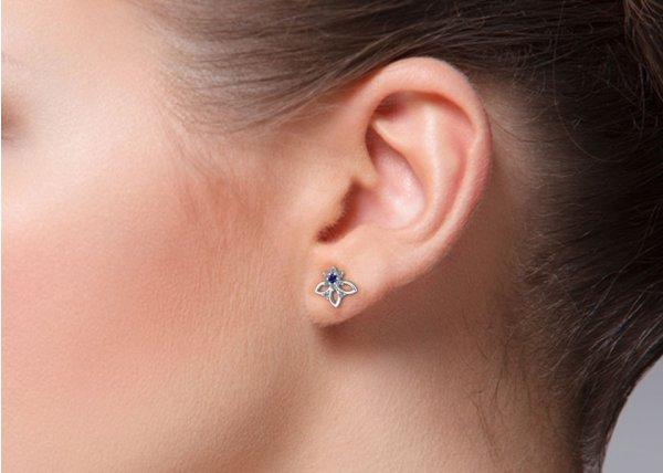18K White Gold IF-HI Diamond Earring 0.176 ct-SDER3446