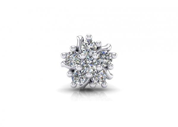 18K White Gold IF-FG Diamond Nosepin 0.09 ct