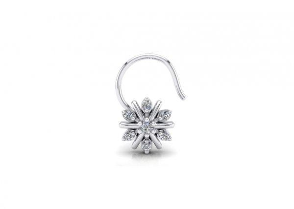 18K White Gold IF-FG Diamond Nosepin 0.038 ct-SDNP1159