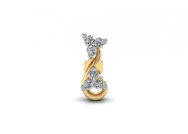 18K Yellow Gold IF-FG Diamond Nosepin 0.036 ct-SDNP1168