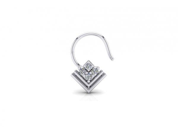 18K White Gold IF-FG Diamond Nosepin 0.026 ct-SDNP1171