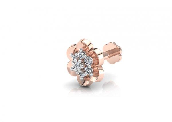 18K Rose Gold IF-FG Diamond Nosepin 0.035 ct-SDNP1182