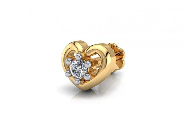 18K Yellow Gold IF-FG Diamond Nosepin 0.02 ct