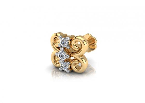 18K Yellow Gold IF-FG Diamond Nosepin 0.033 ct