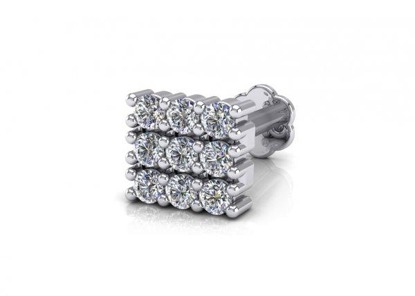 18K White Gold IF-FG Diamond Nosepin 0.144 ct