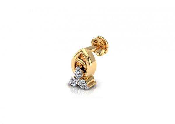 18K Yellow Gold IF-FG Diamond Nosepin 0.021 ct